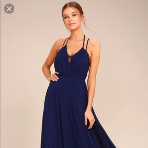 Lulu's Celebrate the Moment Navy Blue Dress